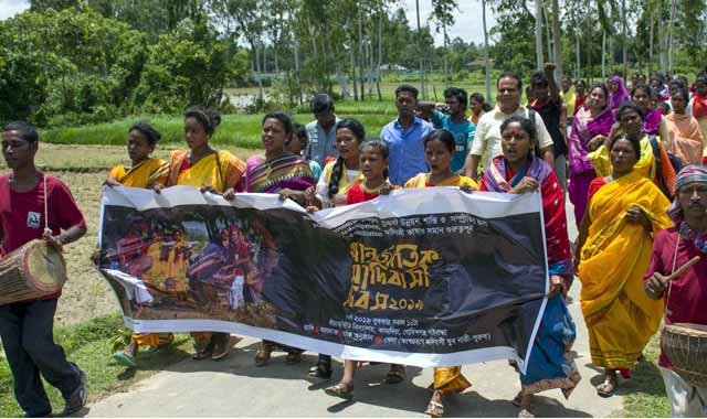Govindaganj colorful rally the Santal community discussion