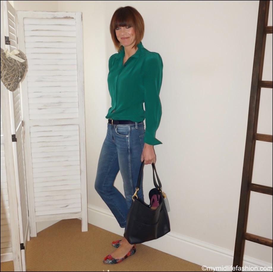 my midlife fashion, Isabel Marant silk ruffle blouse, j crew cropped kick flare trousers, Sarah Haran hazel hobo bag, j crew tweed tassel flat shoes