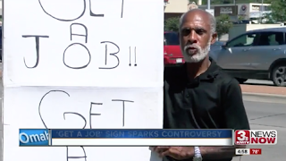 Man's sign telling panhandlers to 'get a job' brings attention, altercations
