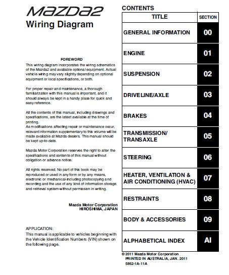 tài liệu mazda 2 2012 wiring diagram