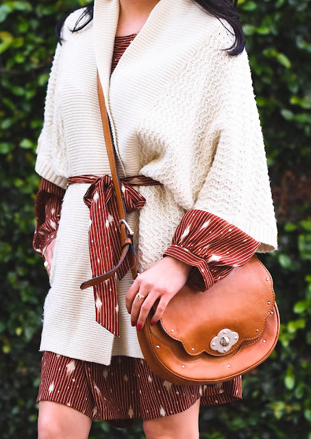 Creme Forever 21 Kimono, handmade dress, Michael Kors leather handbag, Michael Kors suede tan boots