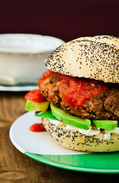 10 Minute Bean Burger on a burger roll with cream cheese, avocado and salsa