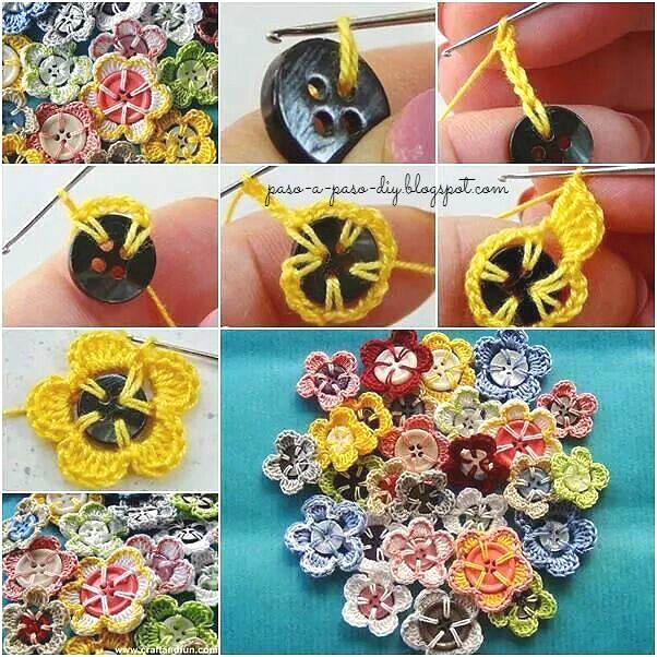 Aprende a tejer flores con botones centrales