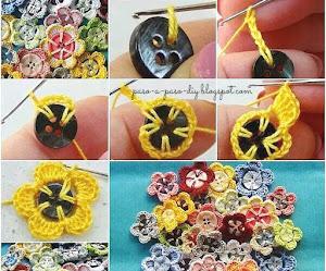 Cómo tejer flores con botones y crochet / DIY