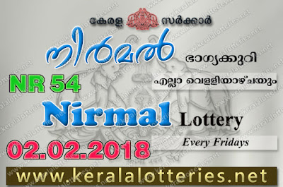 Kerala Lottery Results  2-Feb-2018 Nirmal NR-54 www.keralalotteries.net