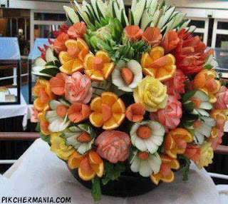 flowers made of Vegetables and fruits bouquet