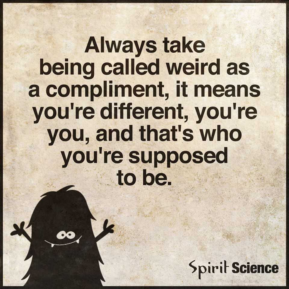 Love Each Other When Two Souls: Always Take Being Called Weird As A Compliment, It Means