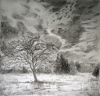 Tree, Field, Sheep. Clouds - Sketch, Scotland Katherine Kean graphite on paper, drawing, contemporary landscape