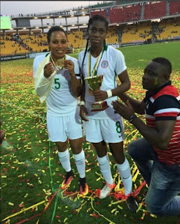 Oshoala Turns Down Shocking Marriage Proposal On Cameroon Pitch After AFCON Women Win, See Photo