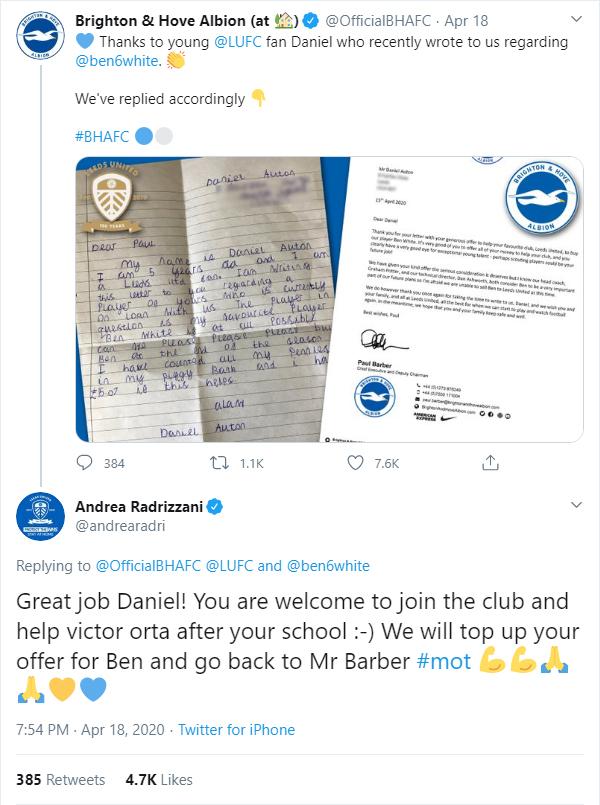 Leeds owner Andrea Radrizzani responds to Daniel Auton's request of making Ben White's loan permanent