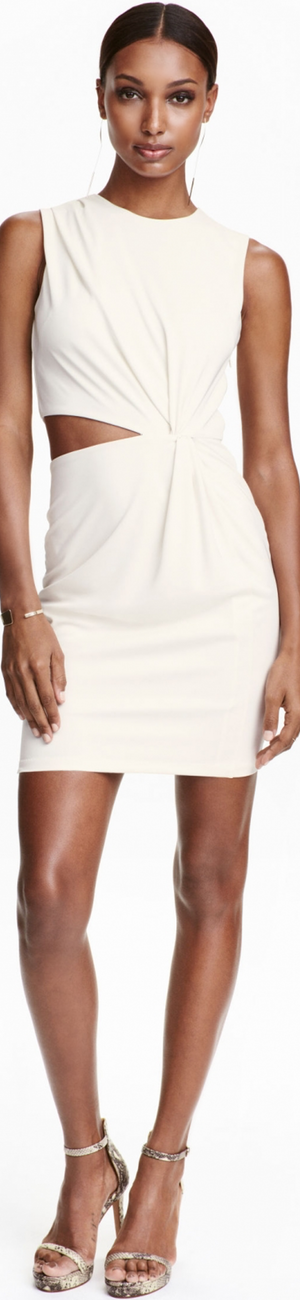 H&M Draped Dress in Natural White