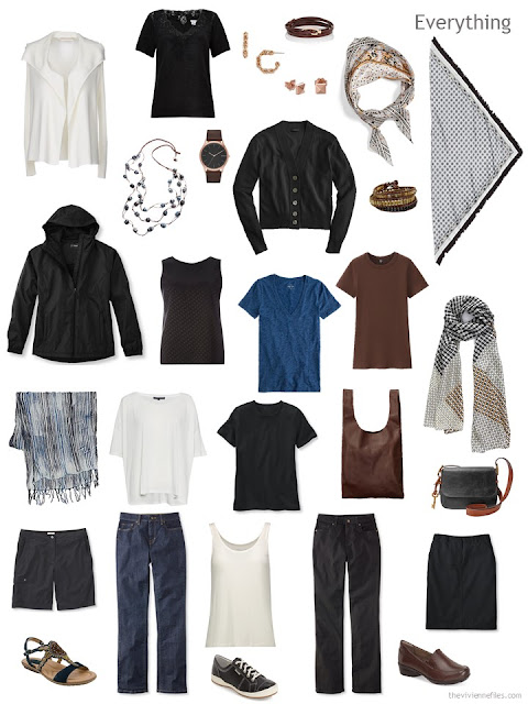 a Whatever's Clean travel capsule wardrobe for warm weather in black, brown, denim blue and ivory