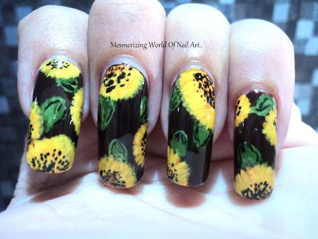 Mesmerizing World Of Nail Art. Sunflower Art