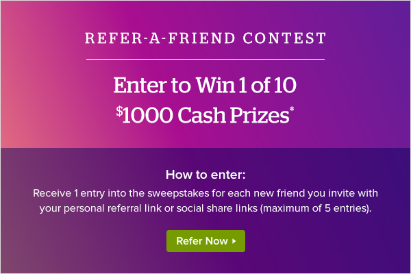 Win 1 of 10 $1000 Cash Prizes From Ebates