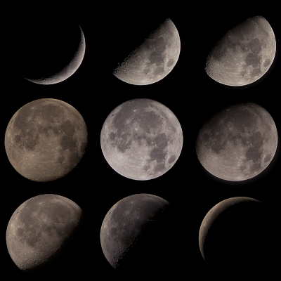composite of moon phases taken with Rebel XT
