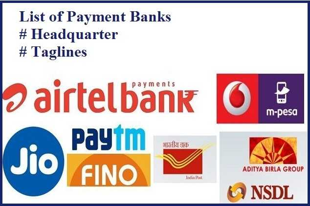 List of Payment banks, Headquarter and Taglines