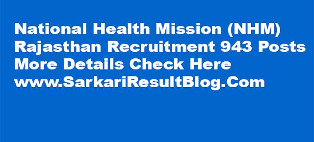 NHM Rajasthan Recruitment 2016