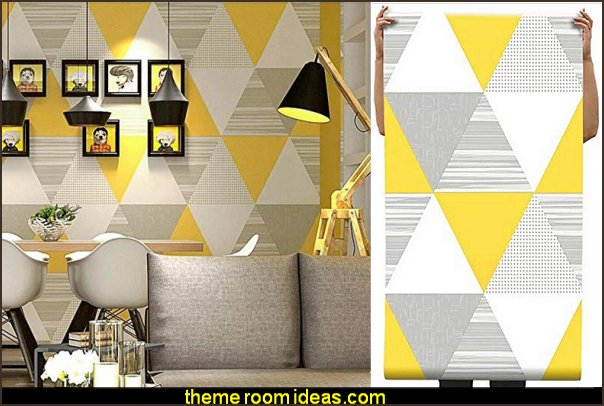 Geometric Lattice Triangle Wallpaper yellow gray