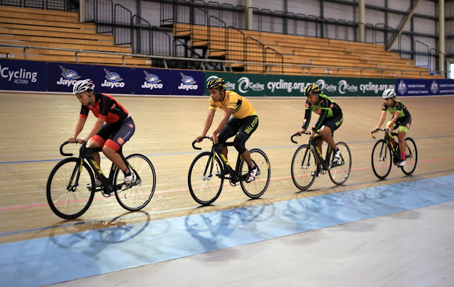 Malaysian track cycling team racing in Madison of Melbourne