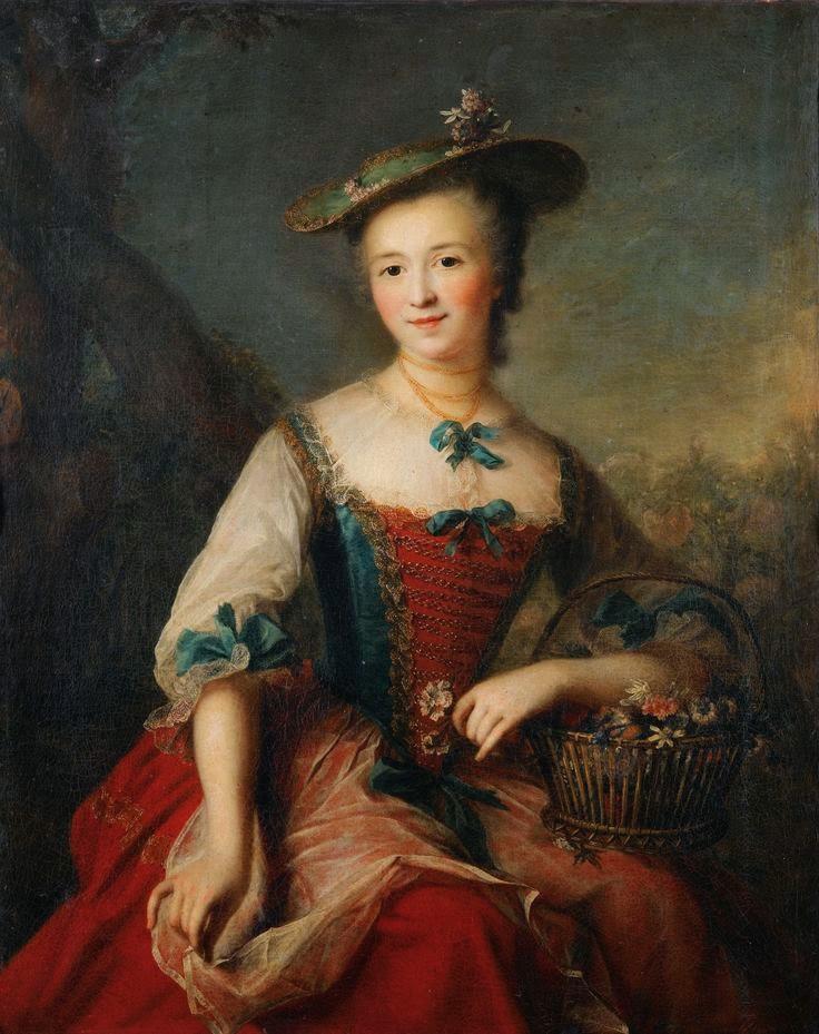 Portrait de Dame Tenant un Panier de Fleurs, Marianne Loir