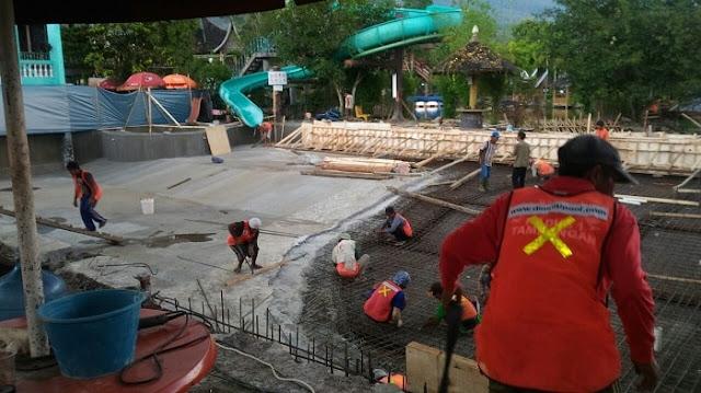 Jasa pembuatan kolam renang_Proses pembesian proyek hotel danau dariza Garut