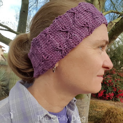 Butterfly Kisses knit skill building KAL earwarmer