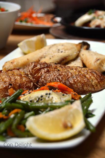 """ירקות מאודים, תפו""""א בגריל ואמנון Tilapia, steamed veggies and potato"""