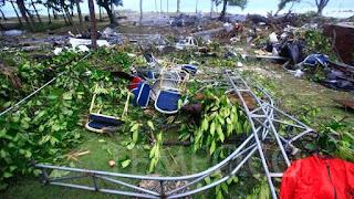 Lokasi panggung bekas konser Seventeen yang hancur diterjang tsunami di Beach Hotel, Pantai Tanjung Lesung, Penimbang, Jawa Barat, Minggu (23/12/2018). Foto/TEMPO