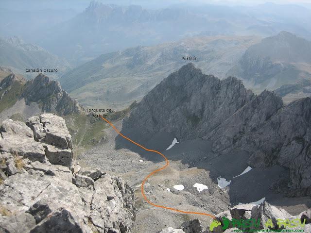 Canalón Oscuro, Forqueta y Portillín desde la cima del Fontán Sur