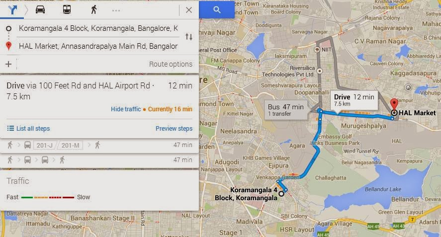 Google maps shows directions from one place to another