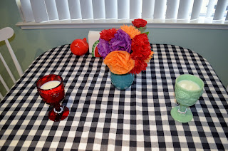 tissue paper flower bouquet first anniversary table