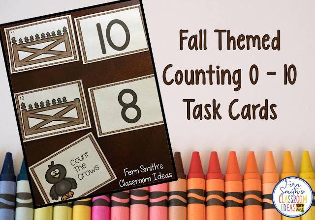 New Fall Themed Counting Numbers  0 - 10 Task Cards For Your Classroom from Fern Smith's Classroom Ideas.