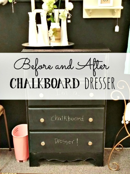 Before and After Chalkboard Dresser
