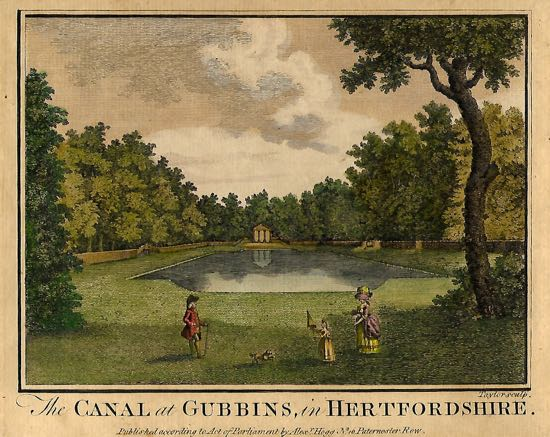 Scan of a coloured etching of Gobions Canal Image from the former Gobions Woodland Trust