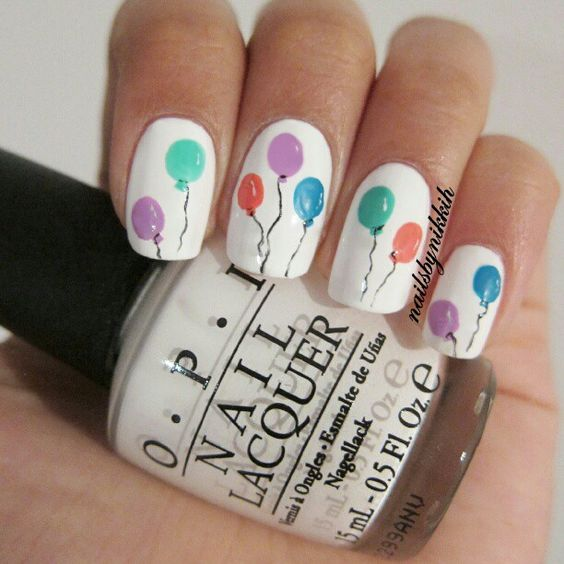 Beautiful And Playful Nails With Balloons Gallery