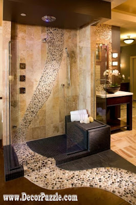 shower tile ideas, shower tile designs, tiling a shower, travertine tile shower ideas