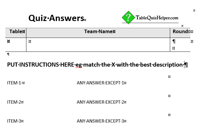 Two lists of stub items, which can be replaced by the actual list of items to be matched in the quiz question round.