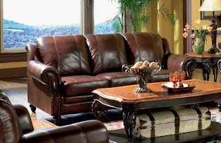 Princeton   Tri Tone Burgundy Leather Sofa By Coaster