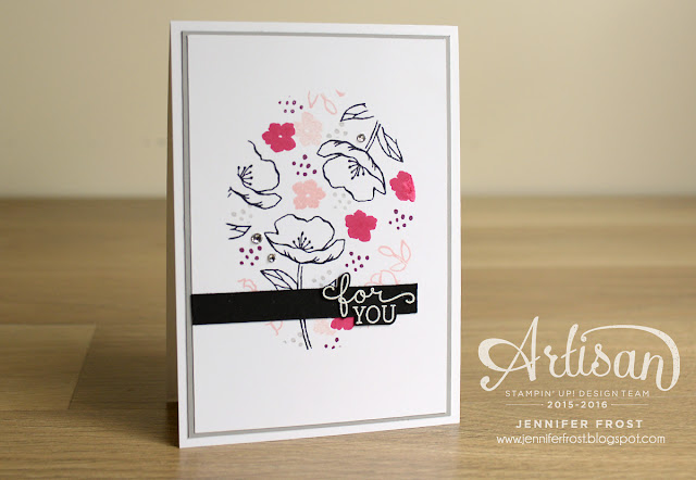Stampin' Up! Birthday Blooms design by Jennifer Frost for TGIF Challenges - Melon Mambo, Blushing Bride and Rich Razzleberry