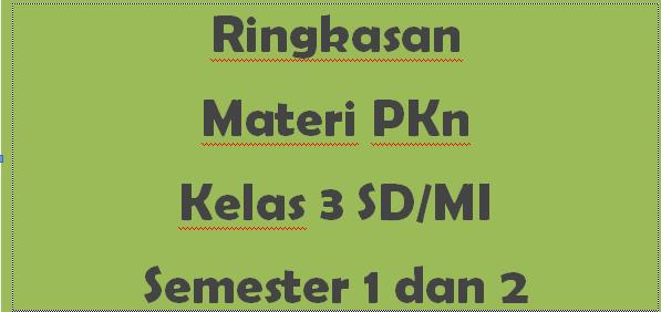 Ringkasan Materi PKn Kelas 3 SD/MI Semester 1 dan 2