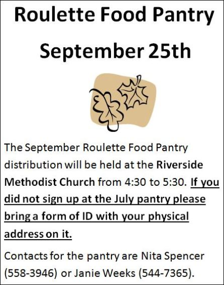 9-25 Roulette Food Pantry
