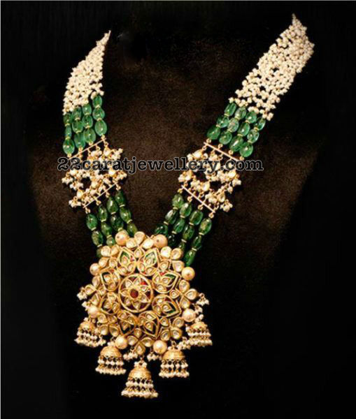 Emerald Drops Pearls Long Chain
