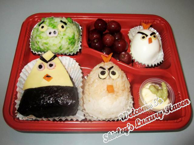 angry birds onigiri bento box lunch recipe