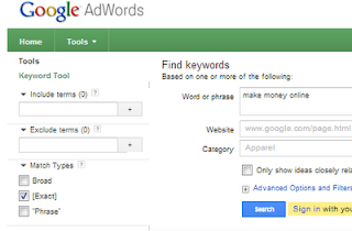 Google Keywords Tool, keywords Planner