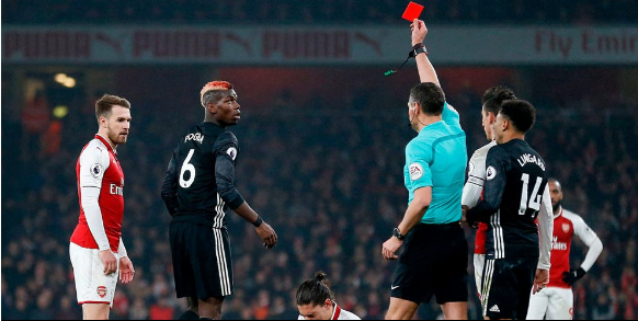 "alt=""Paul Pogba will miss the Manchester derby after getting a straight red card"""