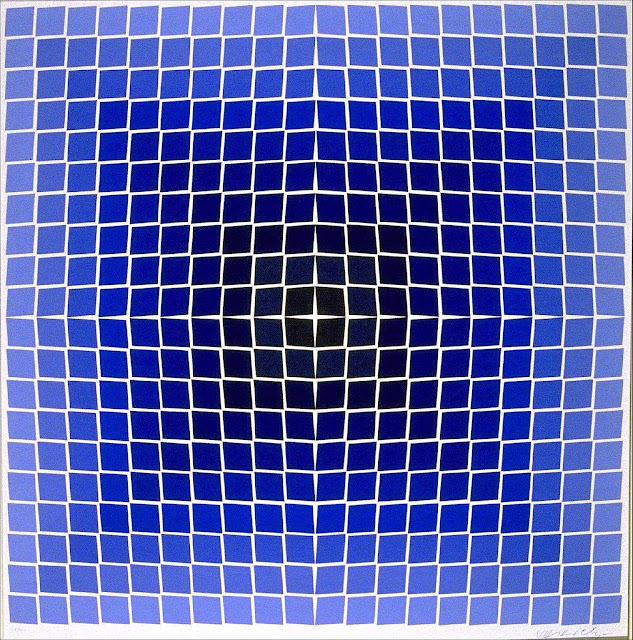 Victor Vasarely large art in blue