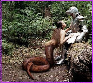 Lamia, portrayed as a half-woman, half-snake demon, charming a knight in armor