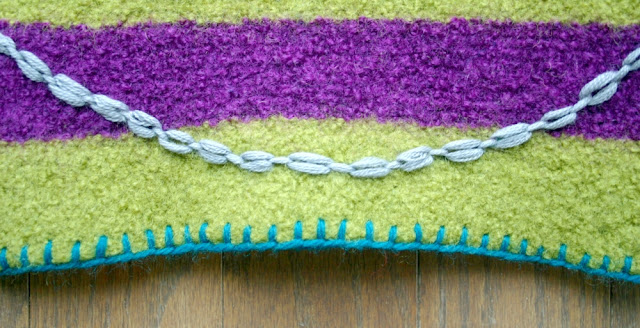 'Skat' Felted knit pillow detail cable chain stitch