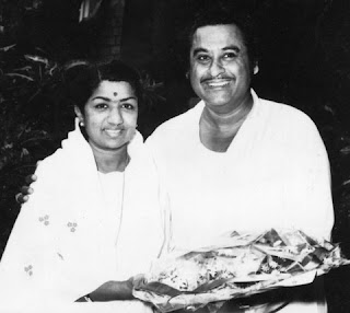 Kishore Kumar is with Lata Mangeskar in the picture