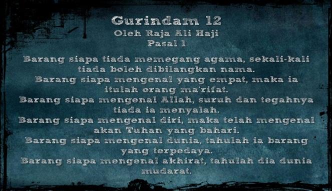 Gurindam 12 Sastra Melayu Riau Yang Hampir Terlupakan Info